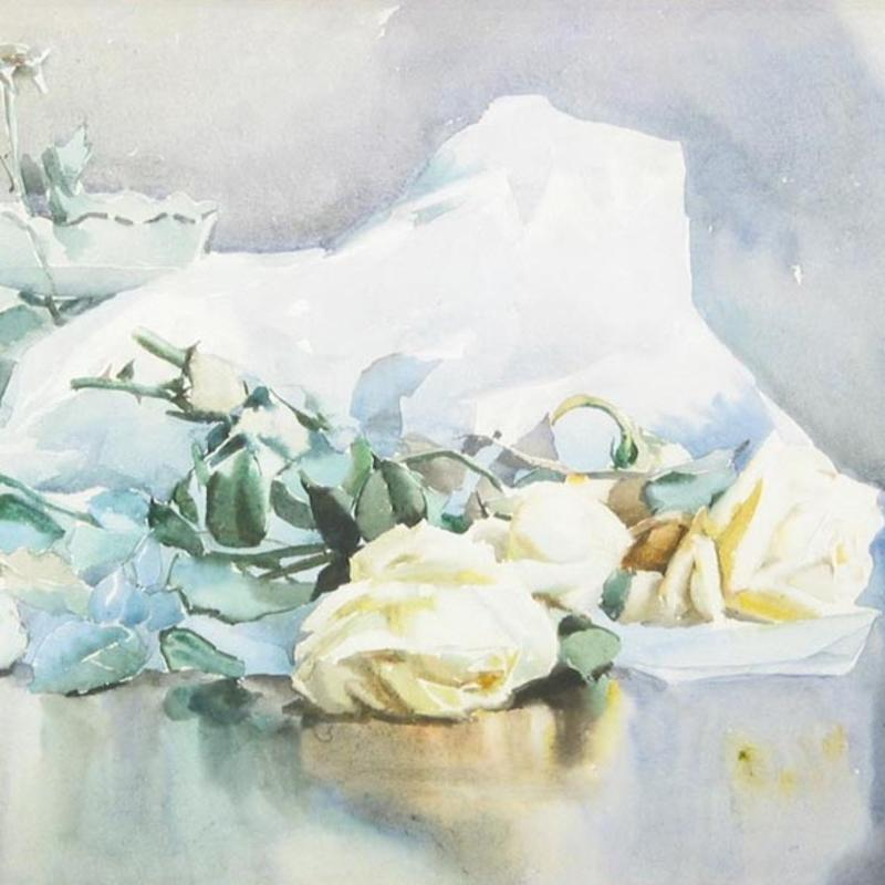 Rhoda Holmes Nicholls, White Roses with Paper