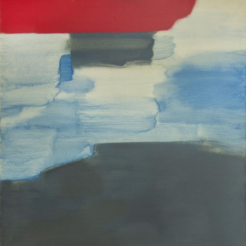 Carl Holty, Untitled (Gray, Blue, and Red), 1960