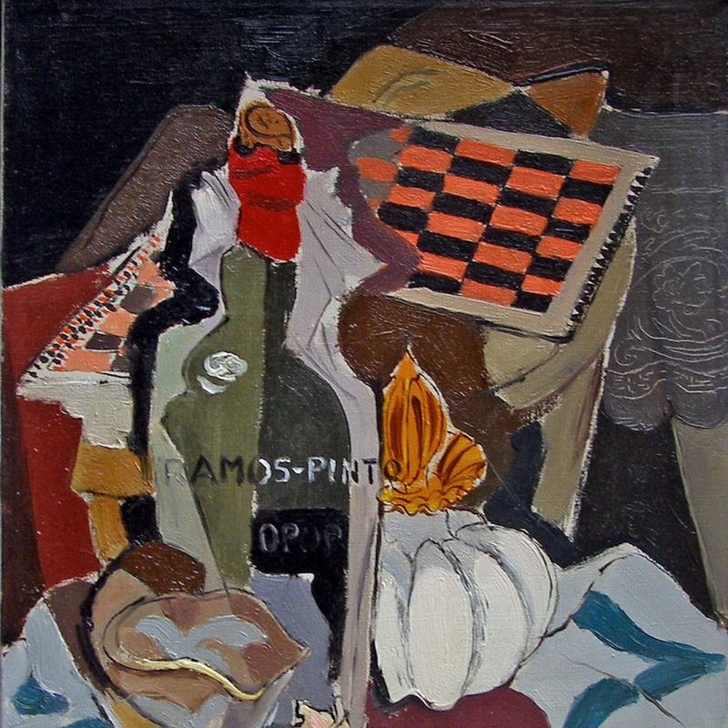 Stanton Macdonald-Wright, Untitled (Still Life with Game Board and Wine), 1945