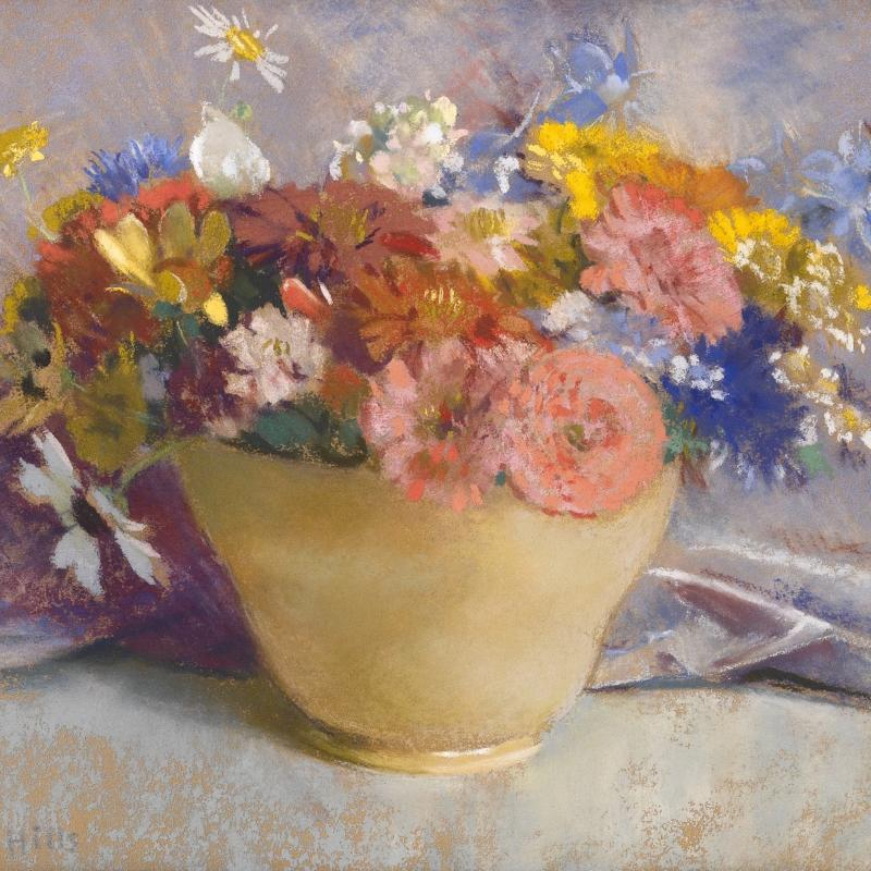Laura Coombs Hills, Mixed Flowers in a Yellow Vase, c. 1915-1920