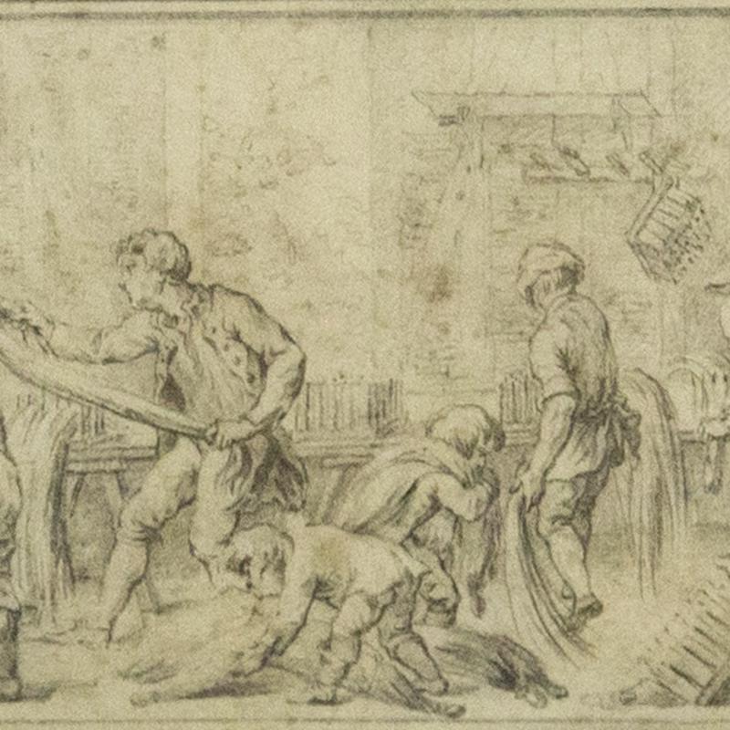 Charles-Nicholas Cochin (the Younger), Figures Preparing Hemp in an Interior