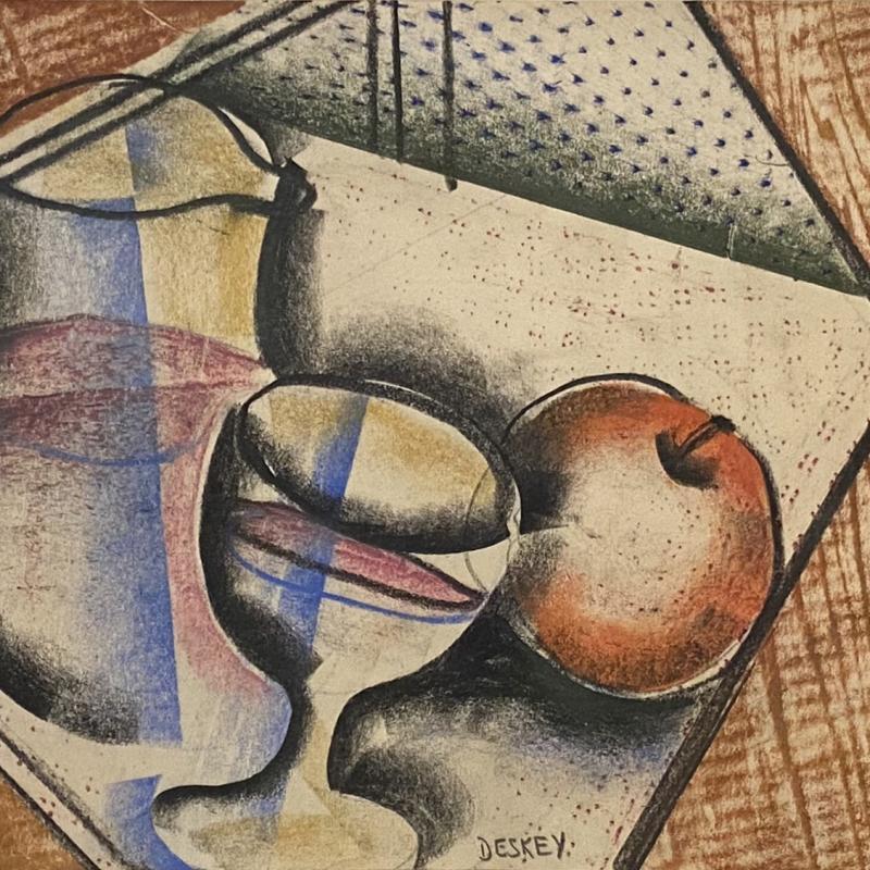 Donald Deskey, Pitcher, Glass, and Apple, c. 1925