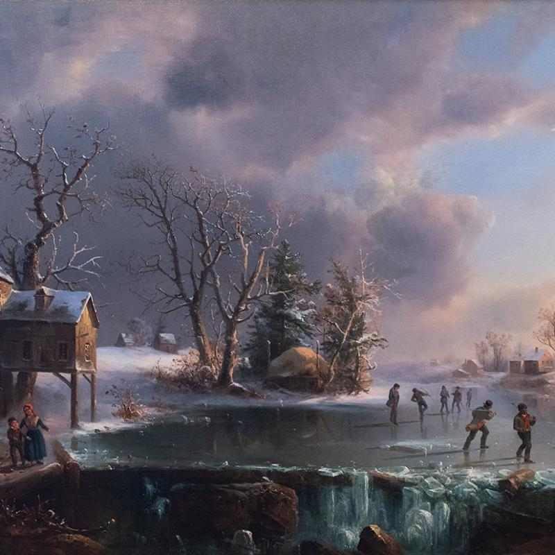 Regis-Francois Gignoux, Skaters on a Frozen Pond, N/A