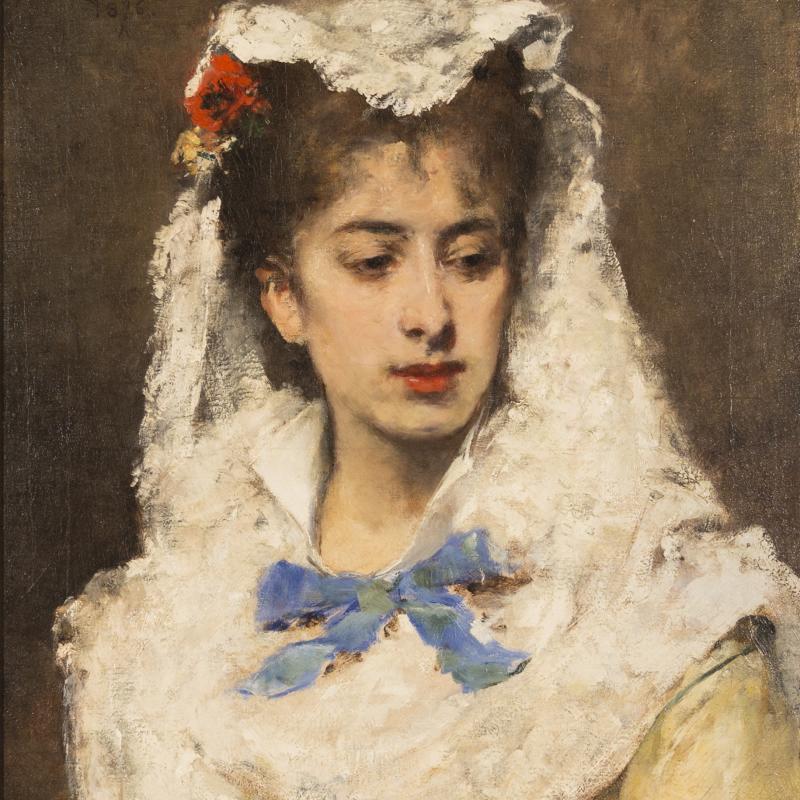 Francisco Miralles, White Mantilla, 1876
