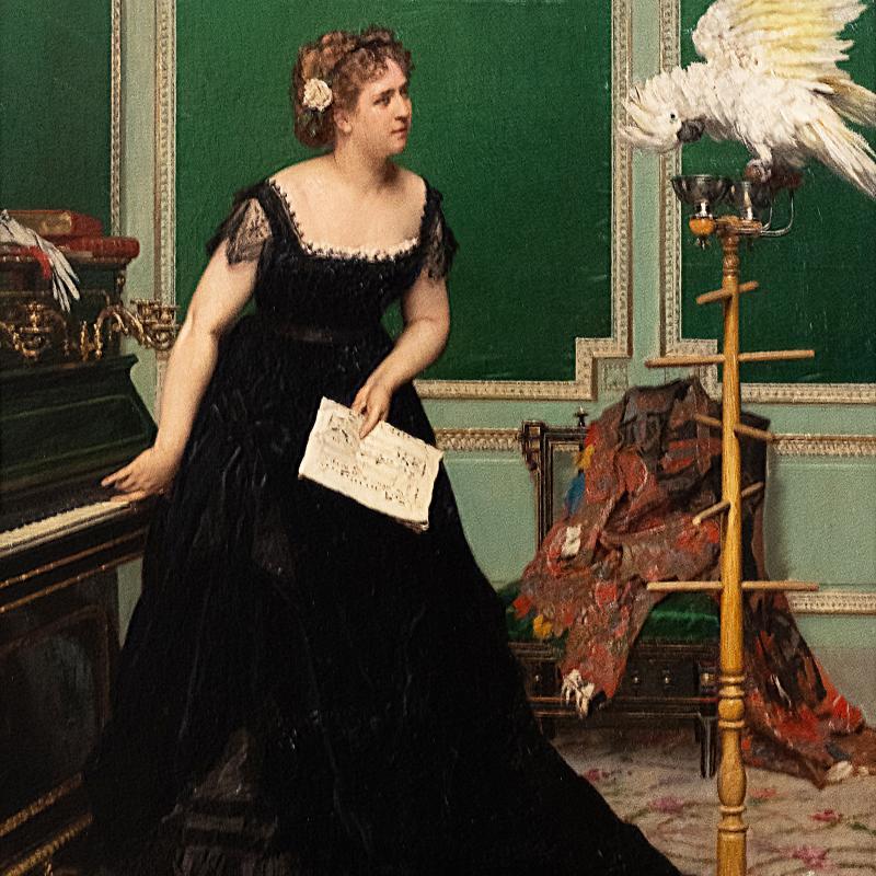 Gustave De Jonghe, Woman with a Parrel