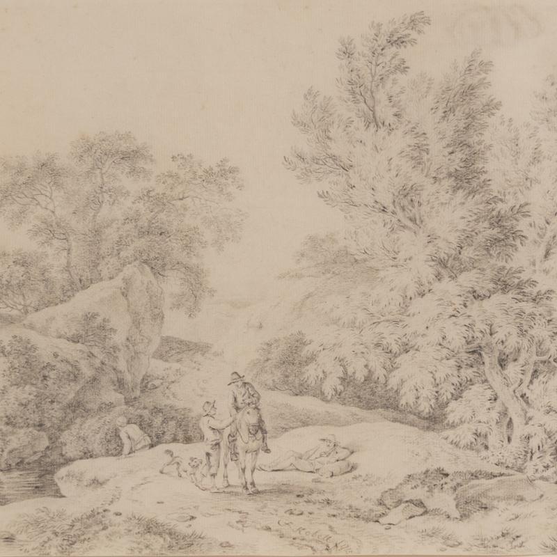 Ferdinand Kobell, Landscape with Travelers Resting, 1`775