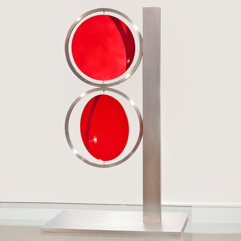Roger Phillips, 24-inch Red Figure Eight on Column, 2015