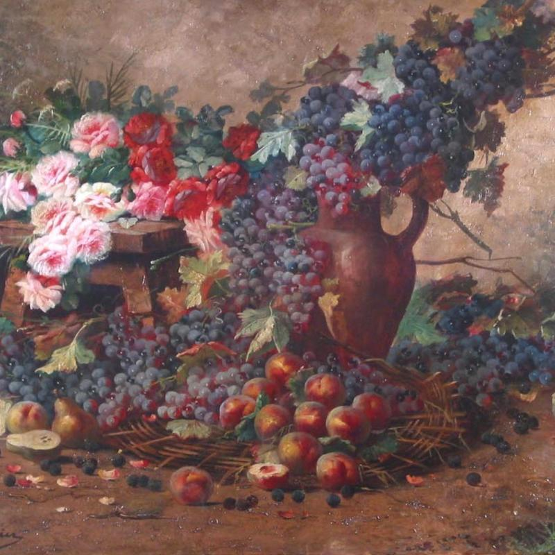 Max Albert Carlier, Still Life with Flowers and Fruit