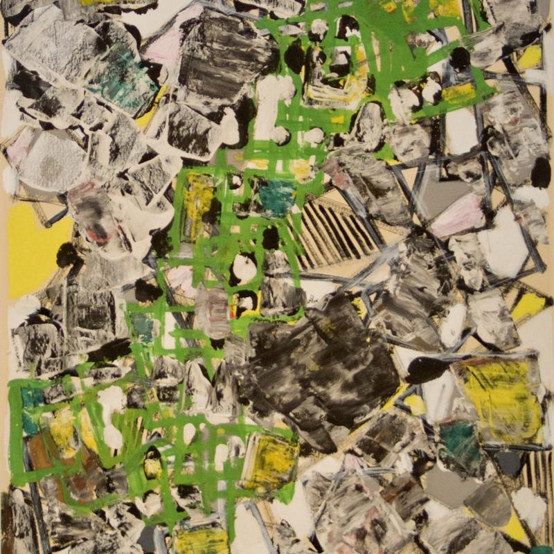 Natalia Dumitresco, Yellow and Green Composition, Circa 1950s
