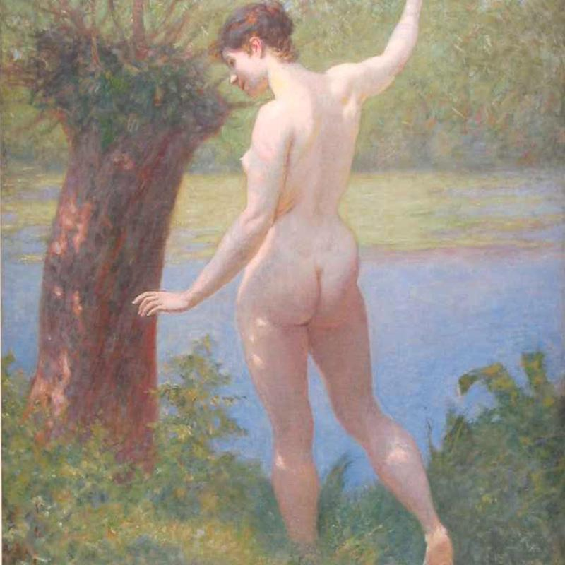 Kenyon Cox, Nude by River's Edge, 1908