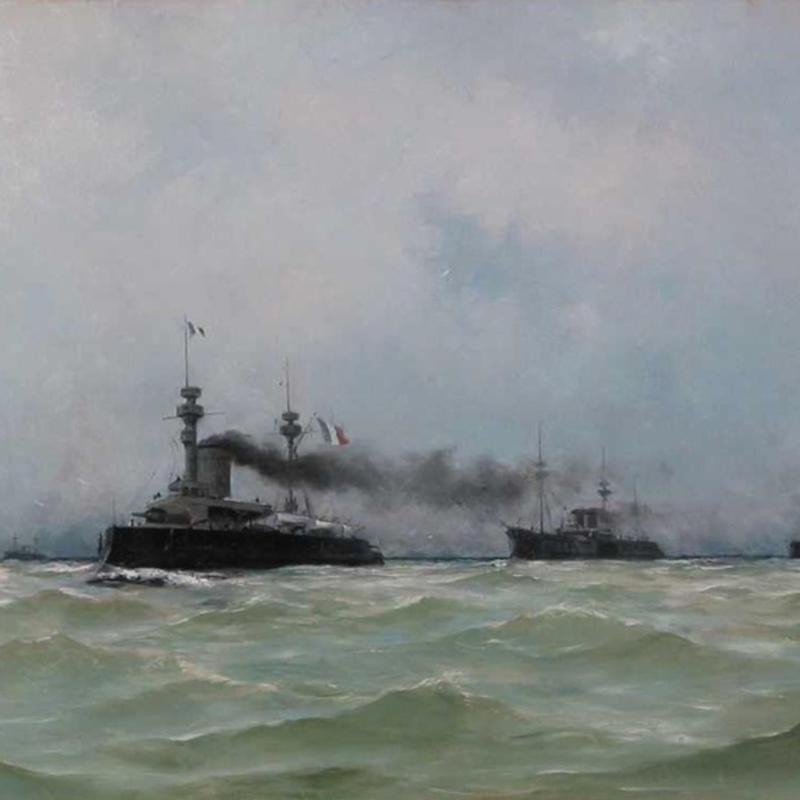 Henri Edmond Rudaux, French Battleships at Sea, 1891