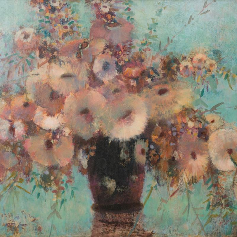 Donald Purdy, Flowers with Blue Background, 1991