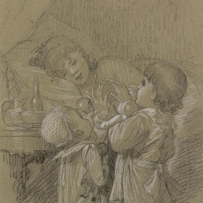 Timoleón Marie Lobrichon, A Woman in Bed, with Two Children Bringing Gifts