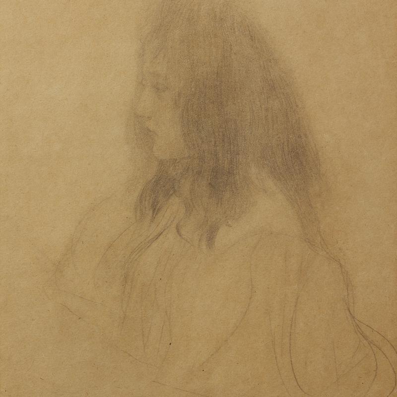 Gustav Klimt, Brustbild eines Maedchens im Profil nach links, Circa 1898