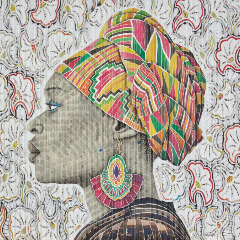 Gary Stephens, Leticia, The Pink Kente Scarf, 2020