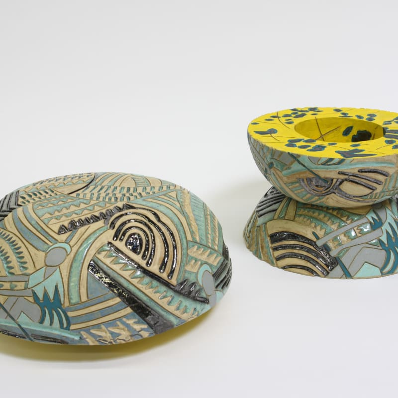 Bari Ziperstein  Aquatic Sports, 2019  Stoneware, glaze and underglaze  12 x 14 x 14 in (30.5 x 35.6 x 35.6 cm)
