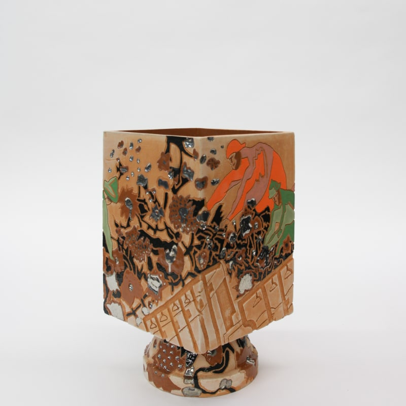 Bari Ziperstein  Gathering Cotton, 2019  Terracotta, glaze, underglaze and luster  14 x 8 x 8 in (35.6 x 20.3 x 20.3 cm)