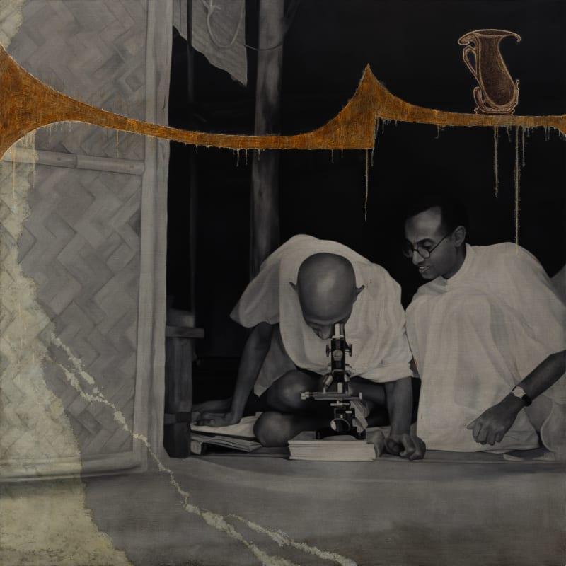 Atul Dodiya, 'Looking through a microscope at Sevagram Ashram, 1940', 2016