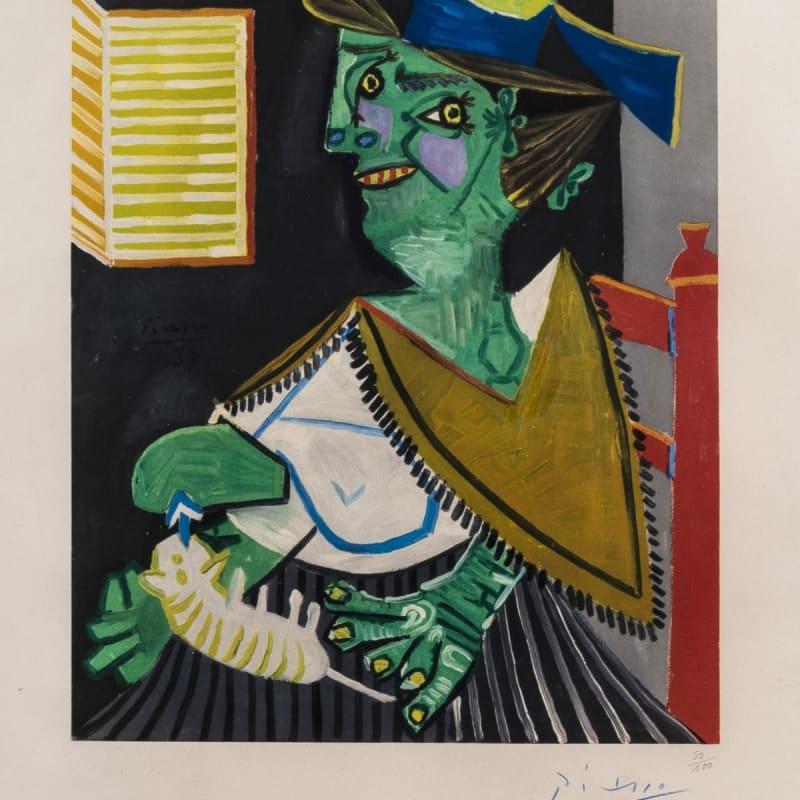Pablo Picasso, Femme Vert Au Chat, 1955-58