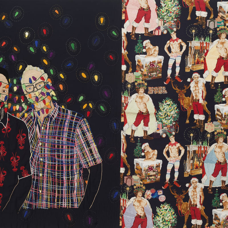Chiachio & Giannone  El Regalo, 2015  Hand embroidery with cotton thread, rayon and jewel effect on Alexander Henry fabric  125 x 210 cm