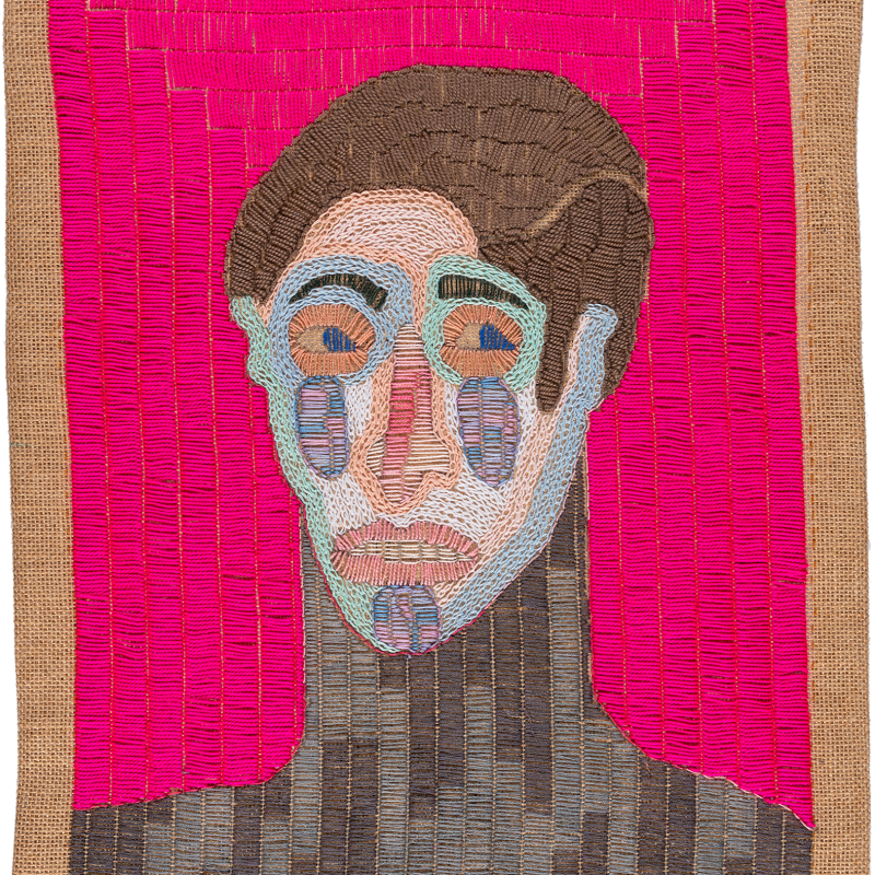 Paloma Castillo  La Tierra I, 2020  Hand embroidery with cotton threads on jute  52 x 41 cm
