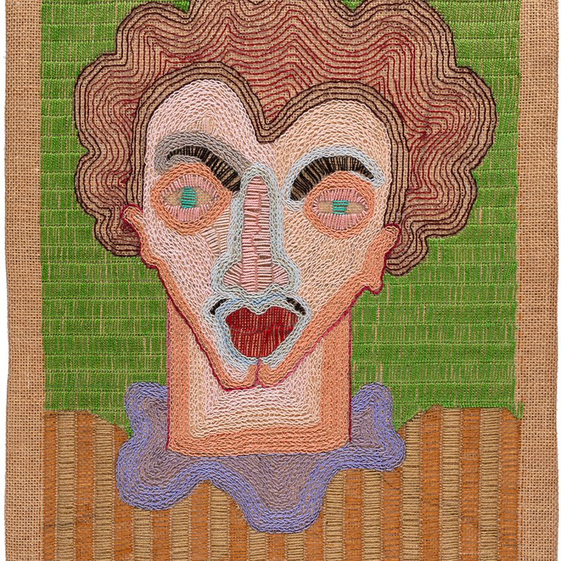 Paloma Castillo  El Príncipe, 2020  Hand embroidery with cotton threads on jute  52 x 39 cm