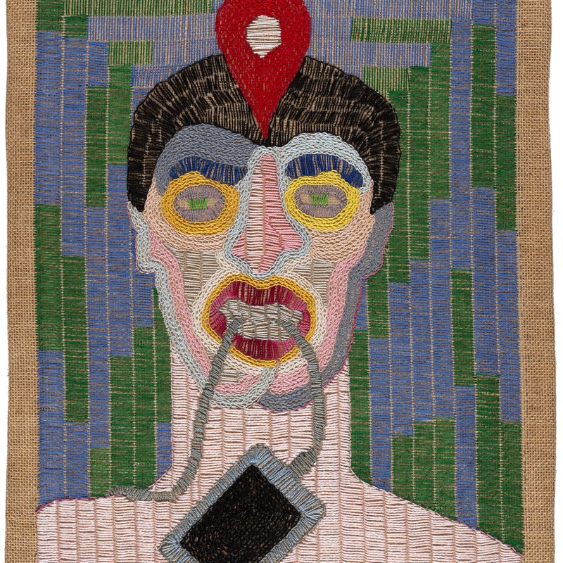 Paloma Castillo  Ubicado, 2020  Hand embroidery with cotton threads on jute  52 x 41 cm