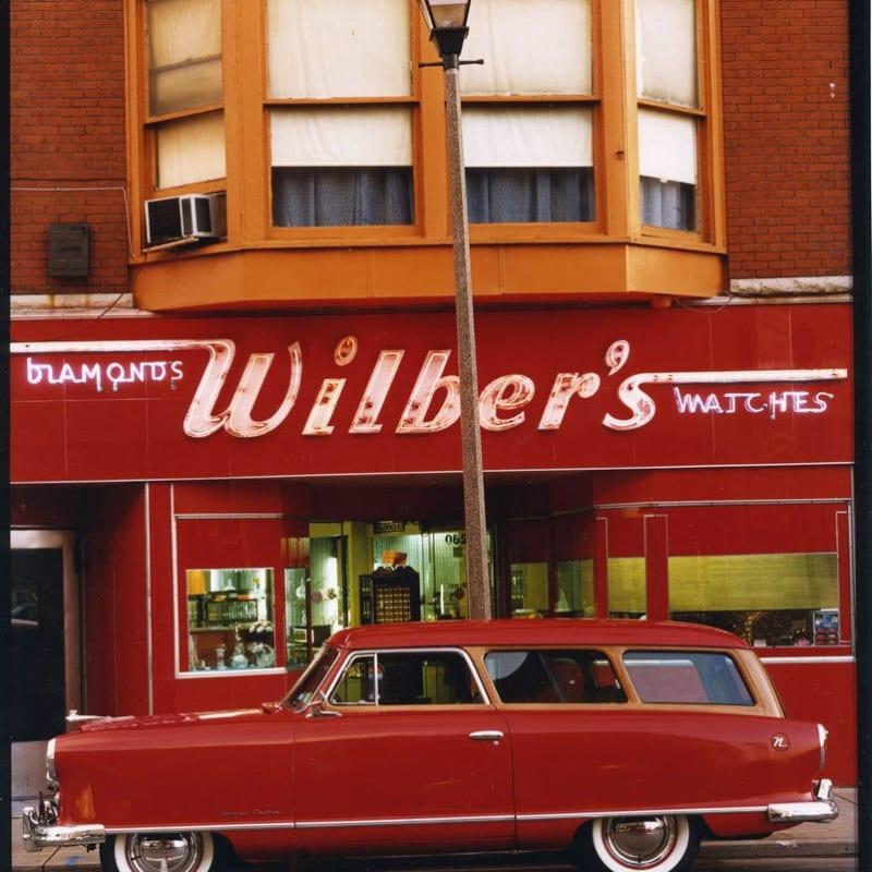 Bruce Wrighton 1953 Nash Rambler, Wilber's Jewelers, Johnson City, NY Tirage C-print postérieur Dim. papier: 20 x 25 cm