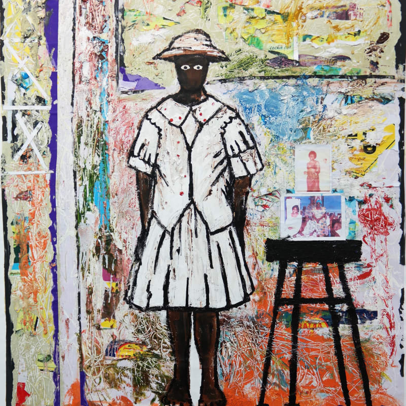 Gideon Appah, Akousa standing between clouds and the corridor, 2017