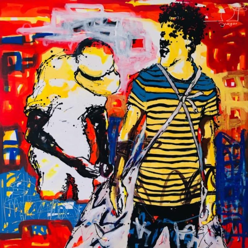 Romaric Yao, Yagor  Le Ganganba, 2018  Acrylic on canvas  150 x 150 cm  59 1/8 x 59 1/8 in