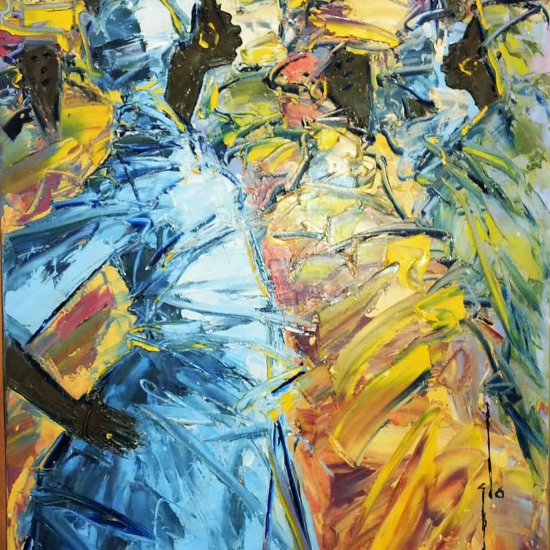 Ablade Glover  Confrontation, 2014  Oil on canvas  100 x 76 cm  39 3/8 x 29 7/8 in