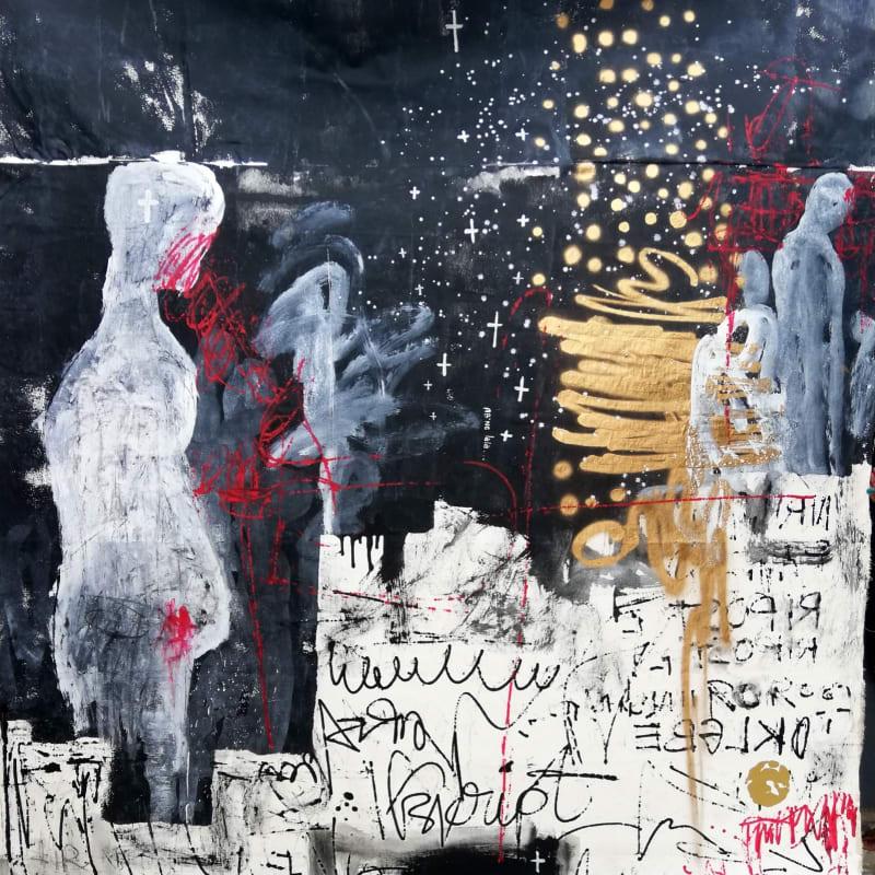 Essoh Sess  Les maitres de la nuit étoilée d'albatre, 2020  Acrylic, pastels and tar on canvas  200 x 230 cm  78 3/4 x 90 1/2 in