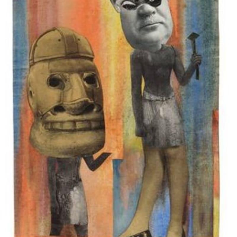 Hannah Hoch Aus der Sammlung: Aus einem Ethnographischen Museum Nr. IX. Collage et aquarelle sur papier marouflé 27,6 x 19 cm