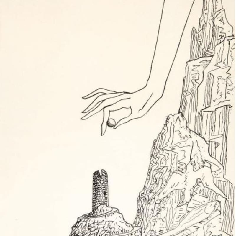 Man Ray Sans titre dessin original à l'encre légèrement contrecollé sur papier fort 26,9 x 22 cm (archives) 13 3/4 by 16 1/2 in. (archives)