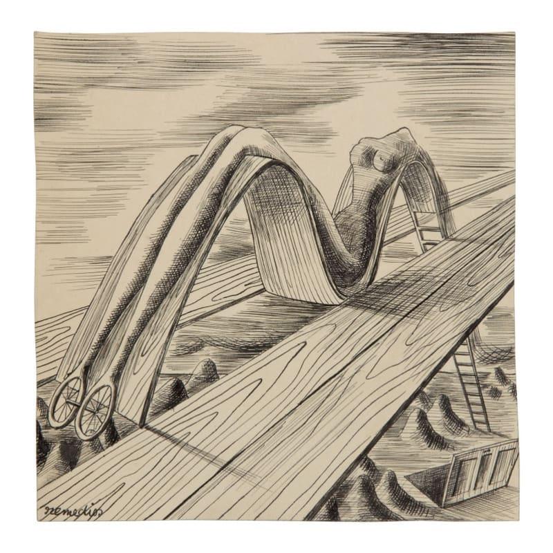 Remedios Varo Uranga Comme en rêve encre noire sur papier fort 15 x 15 cm (archives) 6 x 6 in. (archives)