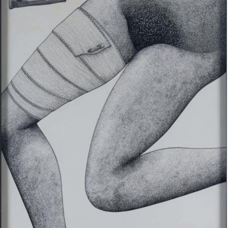 Robert Malaval Anne pubis et genoux gauche encre de chine sur papier 64 x 49 cm