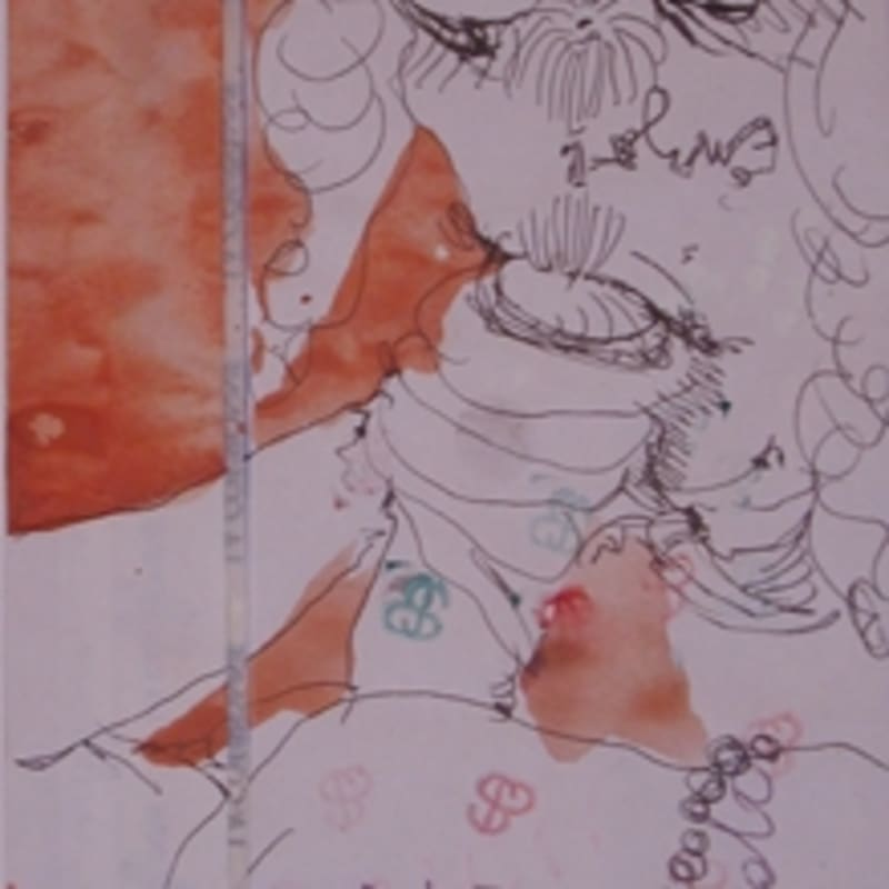 Sébastien Pignon Série des dessins-enveloppes crayon, feutre, aquarelle et encre sur papier 22 x 11 cm