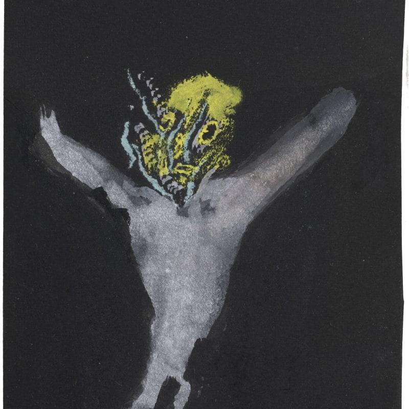 Henri Michaux Sans titre gouache sur papier noir 13 x 10 cm