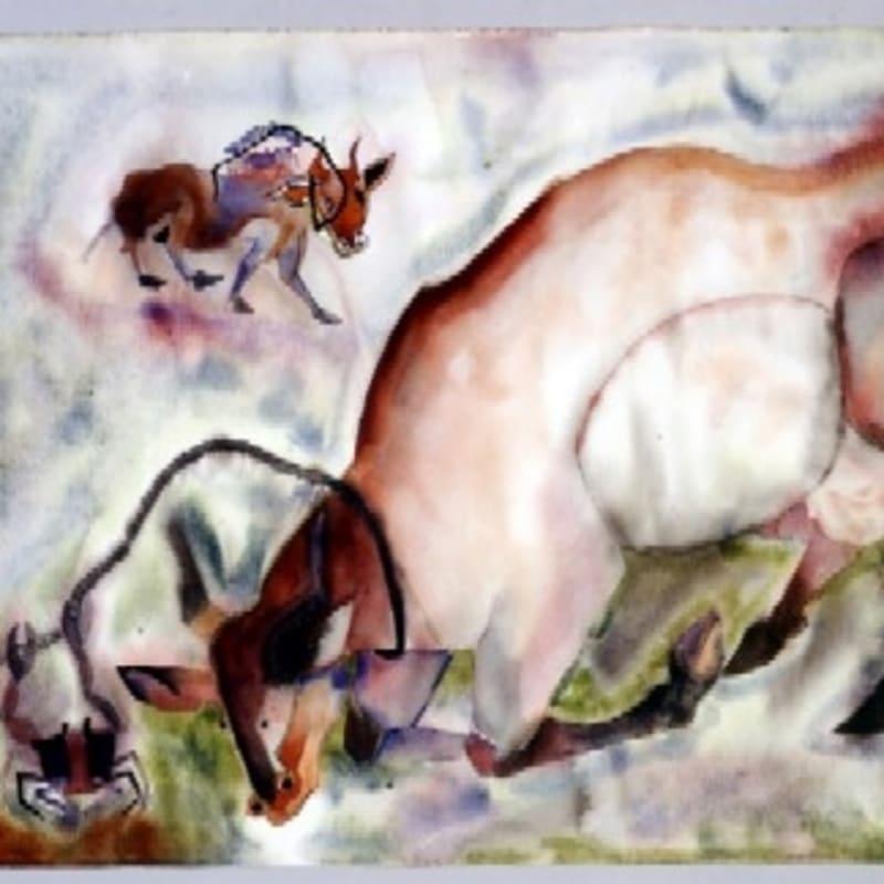 Francis Toledo Vaca Atrapada encre, aquarelle et gouache sur papier 24.8 x 38 cm (disponible) 24.8 x 38 cm (available)