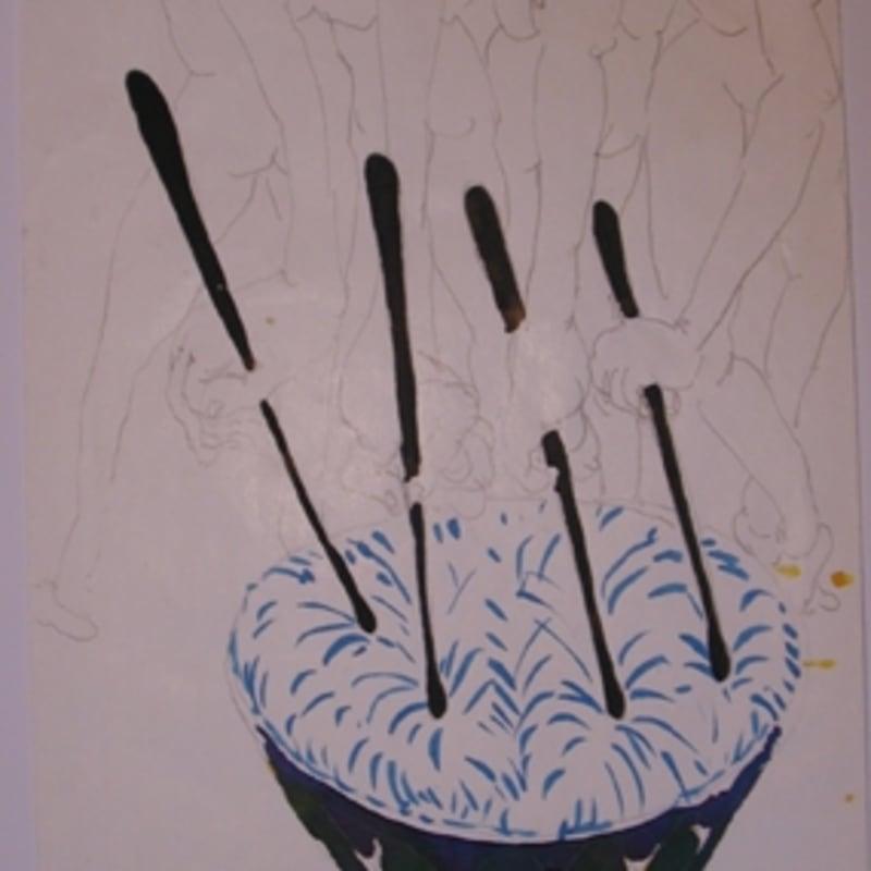 Sébastien Pignon Série des dessins enveloppes dessin au crayon, feutre, aquarelle et encre 30 x 19 cm 25 5/8 by 21 1/4 in.
