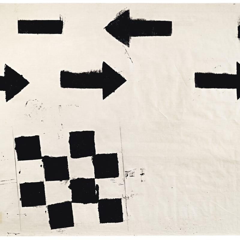 Jannis Kounellis Sans titre bitume sur papier 68.3 x 99.5 cm