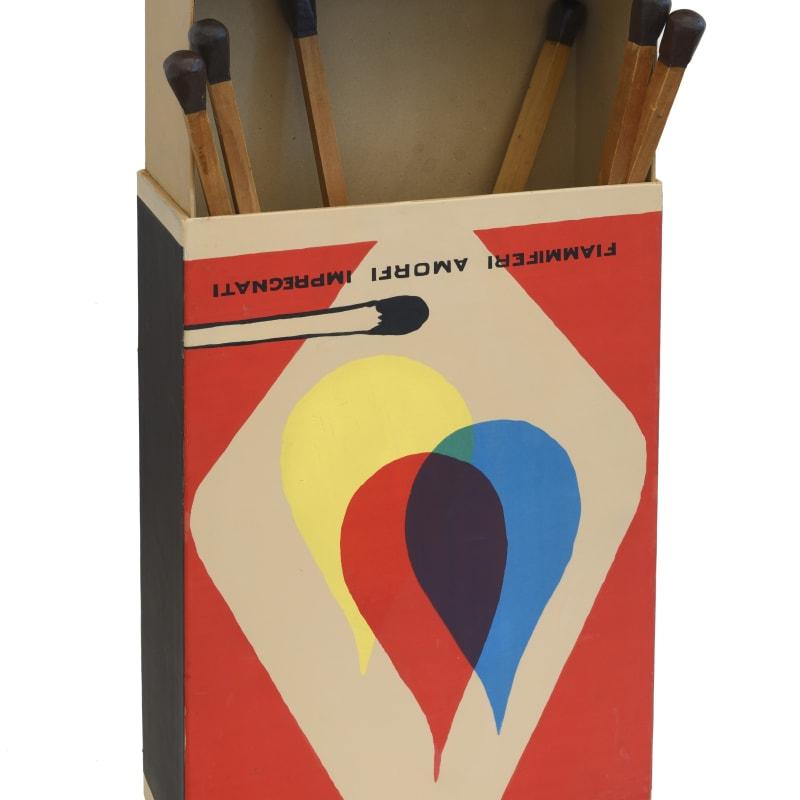 Raymond Hains Saffa, Omaggio a Mondrian e a de Chirico Boîte en carton et six allumettes en bois et résine 105 x 50 x 19 cm 41.34 x 19.69 x 7.48 in.