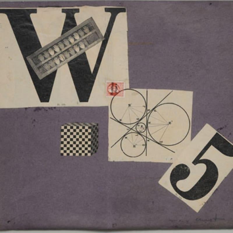Max Ernst Manifeste W 5 (Weststupidien 5) III. Manifesto, jacket maquette collage et frottage sur papier et écriture dactylographique sur papier 28,5 x 30,8 cm (archives)