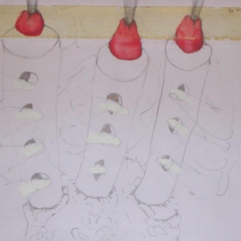 Sébastien Pignon Série des dessins enveloppes dessin au crayon, feutre, aquarelle et encre 12 x 17.6 cm
