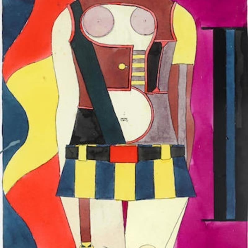 Richard Lindner Sans titre aquarelle et crayon sur papier 30,7 x 21,7 cm 12 x 8 1/2 in.