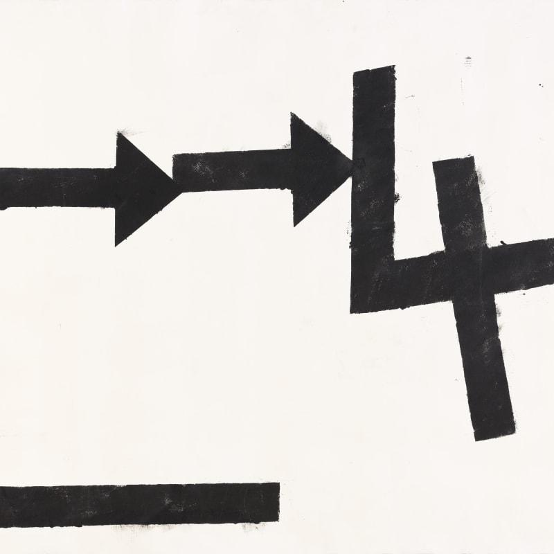Jannis Kounellis Senza Titolo Bitume sur papier / détrempe et huile sur papier 70 x 100 cm