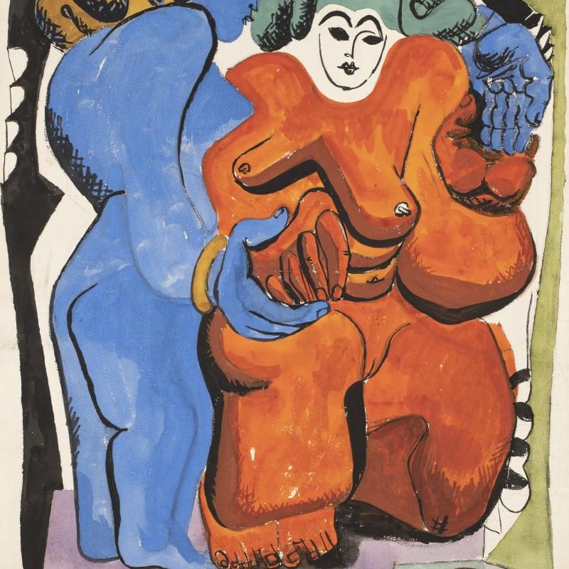 Charles-Edouard Le Corbusier Deux femmes et une pomme de pin gouache sur papier 61 x 47 cm 24 x 18 1/2 in.
