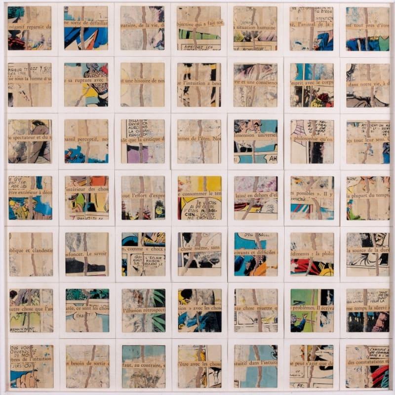 Gil Joseph Wolman Négatif réapparaît da assemblage de papiers séparés en deux, textes imprimés et cartons de diapositives sur film plastique transparent 35 x 35 cm (disponible) 35 x 35 cm (available)