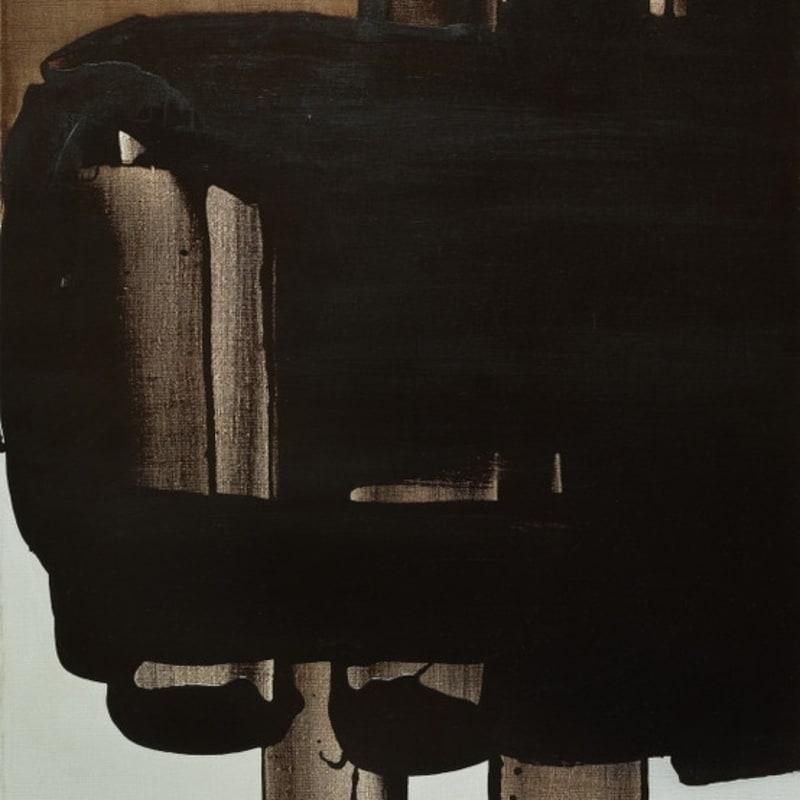 Pierre Soulages Sans titre brou de noix, liant acrylo-vinylique sur toile 92 x 73 cm