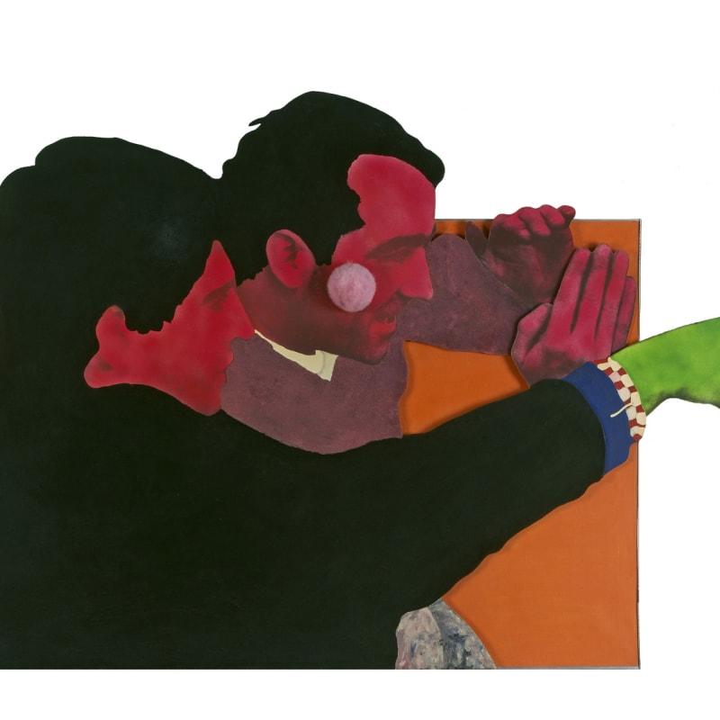 Martial Raysse A propos de New York en Peinturama assemblage, flocage, peinture à la bombe, xérographie et houppette sur toile et film super 8 103 x 167,5 cm 35 3/8 by 51 1/8 in.